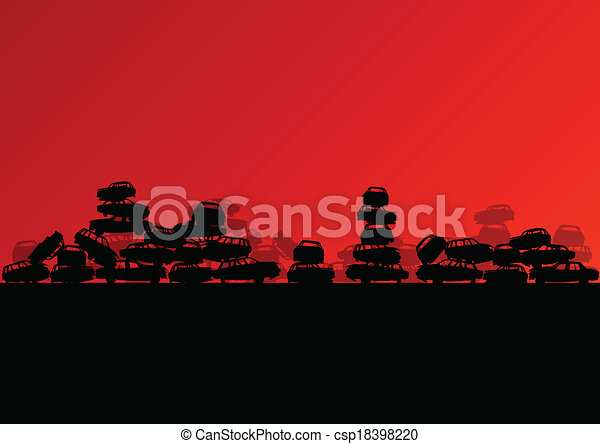 Old used automobile cars metal scrapyard graveyard landscape in industrial metal recyclable ecology concept vector background illustration - csp18398220