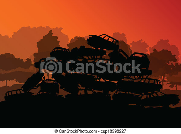 Old used automobile cars metal scrapyard graveyard landscape in industrial metal recyclable ecology concept vector background illustration - csp18398227