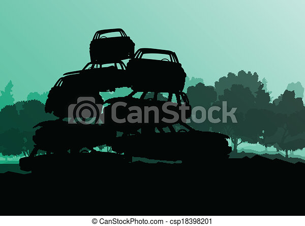 Old used automobile cars metal scrapyard graveyard landscape in industrial metal recyclable ecology concept vector background illustration - csp18398201