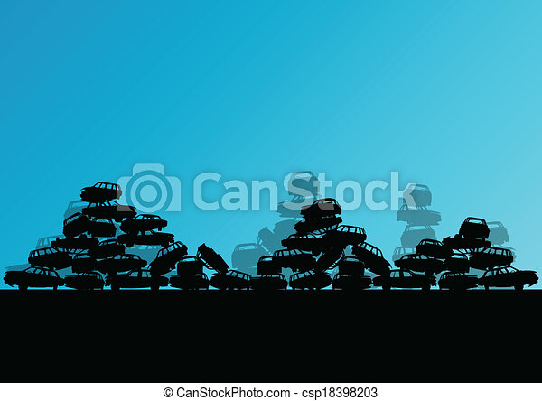 Old used automobile cars metal scrapyard graveyard landscape in industrial metal recyclable ecology concept vector background illustration - csp18398203