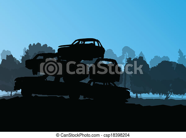 Old used automobile cars metal scrapyard graveyard landscape in industrial metal recyclable ecology concept vector background illustration - csp18398204