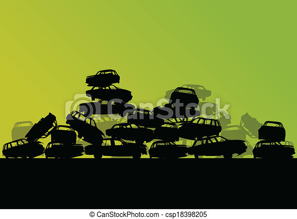 Old used automobile cars metal scrapyard graveyard landscape in industrial metal recyclable ecology concept vector background illustration - csp18398205