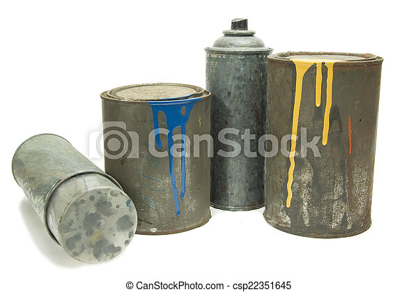 Old used spray cans and paint bucket - csp22351645