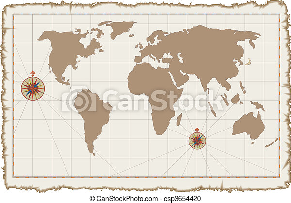 Old vector world map on parchment vector clipart search old vector world map on parchment gumiabroncs Gallery