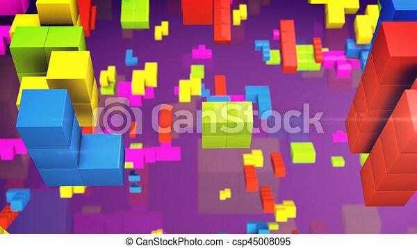 Old Video Game Square Tetris