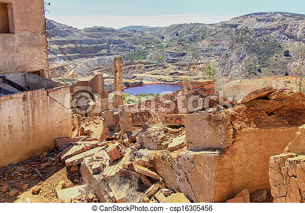 old village destroyed in ruins and abandoned by the bombs of war - csp16305456