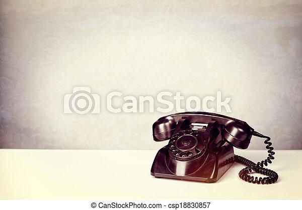 Old Vintage Black Telephone .Vintage filter added - csp18830857