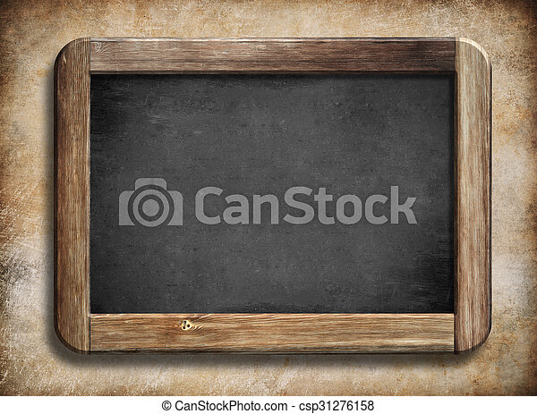 Old vintage blackboard with wooden frame on grunge background ...