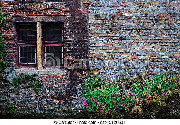 Old vintage brick wall with rusty window and flowers - csp15126601