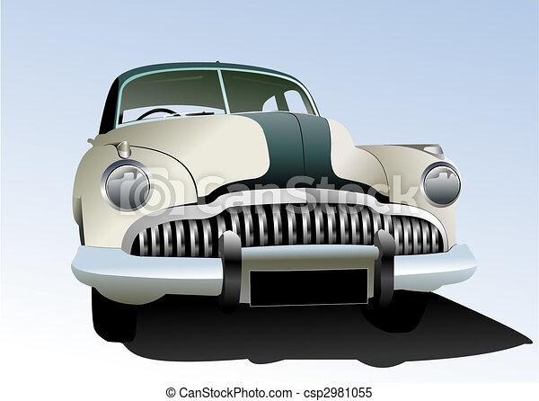 Old vintage car. Colored Vector illustration for designers - csp2981055