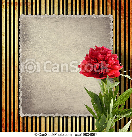 Old vintage card with peony on golden striped background - csp19834067