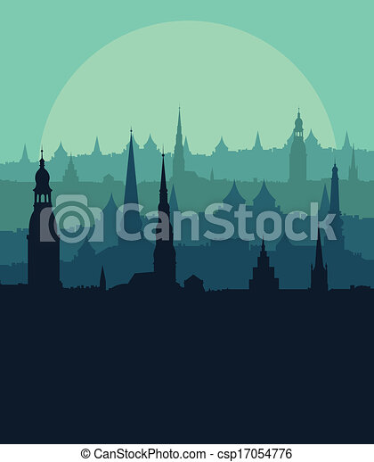 Old vintage city town landscape with moon in detailed illustration background vector - csp17054776