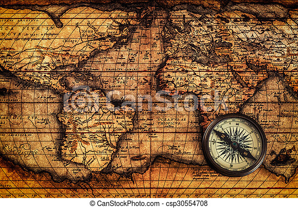 Old vintage compass on ancient map travel geography navigation old vintage compass on ancient map csp30554708 gumiabroncs Image collections
