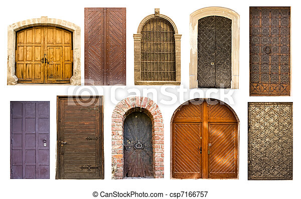 Old vintage doors from Lviv - csp7166757 - Old Vintage Doors From Lviv. Different Collection Of Old Antique