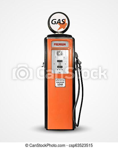 old vintage gasoline petrol pump isolated on plain background - csp63523515