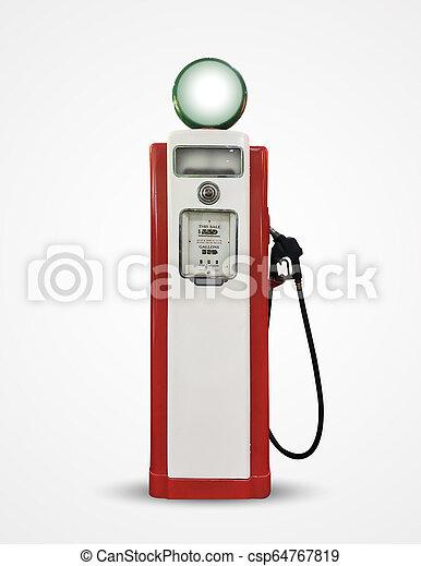old vintage gasoline petrol pump isolated on plain background - csp64767819
