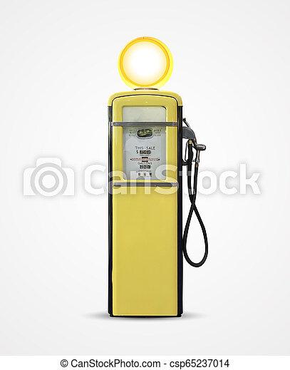 old vintage gasoline petrol pump isolated on plain background - csp65237014