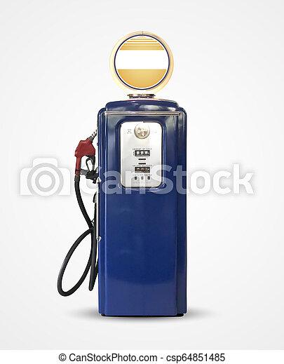 old vintage gasoline petrol pump isolated on plain background - csp64851485