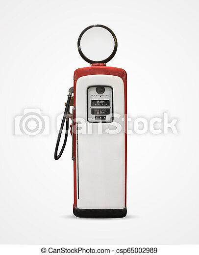 old vintage gasoline petrol pump isolated on plain background - csp65002989