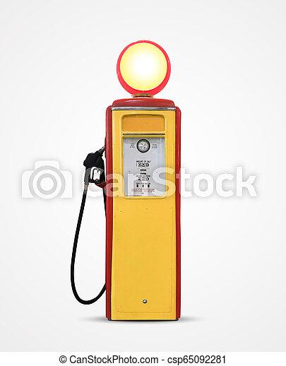 old vintage gasoline petrol pump isolated on plain background - csp65092281