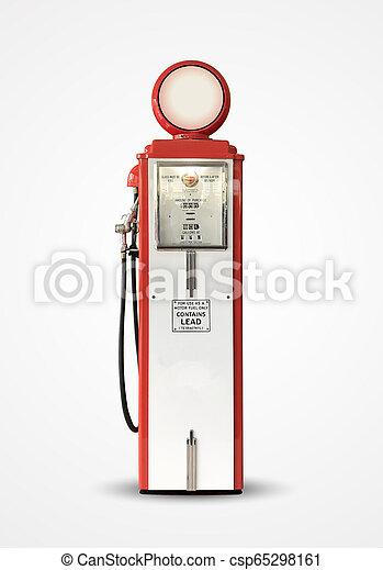 old vintage gasoline petrol pump isolated on plain background - csp65298161