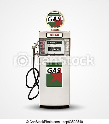 old vintage gasoline petrol pump isolated on plain background - csp63523540