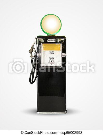 old vintage gasoline petrol pump isolated on plain background - csp65002993