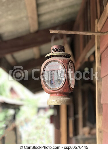 old vintage lamp on wall - csp60576445