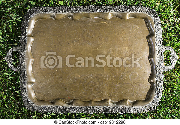 Old vintage metal tray platter with ornament - csp19812296