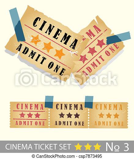 Old vintage paper cinema ticket set - csp7873495