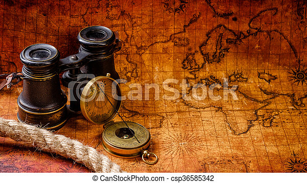 Old vintage retro compass and spyglass on ancient world map old vintage retro compass and spyglass on ancient world map csp36585342 gumiabroncs Images
