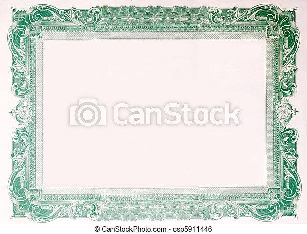 Old Vintage Stock Certificate Empty Border Frame - csp5911446