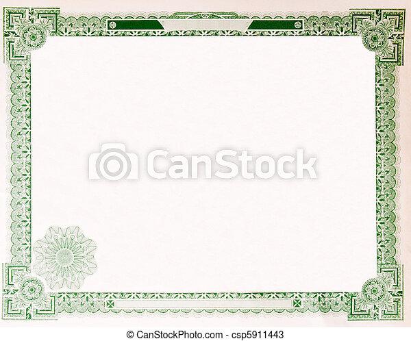 Old Vintage Stock Certificate Empty Border 1914 - csp5911443