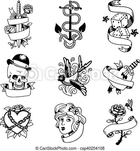 Old vintage tattoo vector illustration - csp40204108