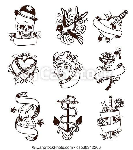 Old vintage tattoo vector set. - csp38342266