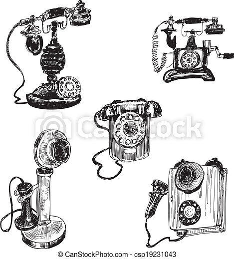 Old Vintage Telephone Set Of Hand Drawn Illustrations Eps Vector
