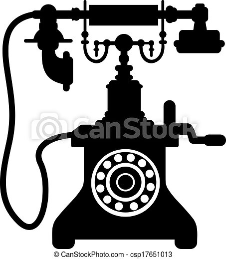 Black And White Silhouette Of An Old Vintage Telephone With