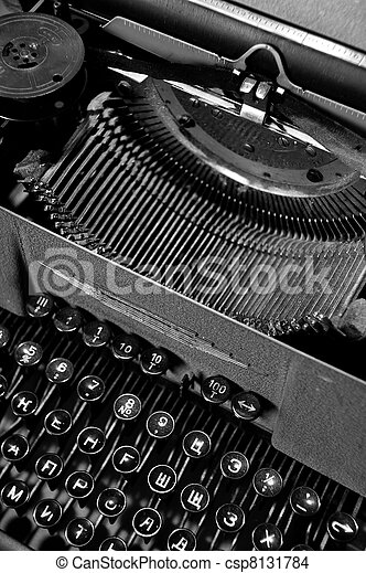 9e3ebadd05f Old vintage typewriter with russian keyboard.