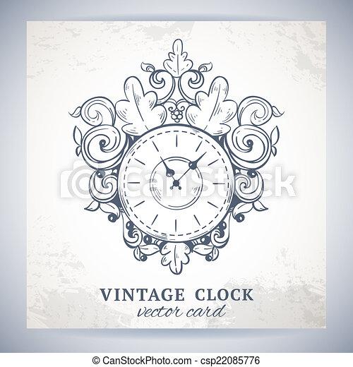 vintage wall clock postcard vintage retro sketch