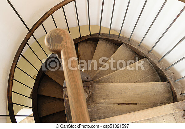 Old Vintage Wood Spiral Staircase   Top View   Csp51021597