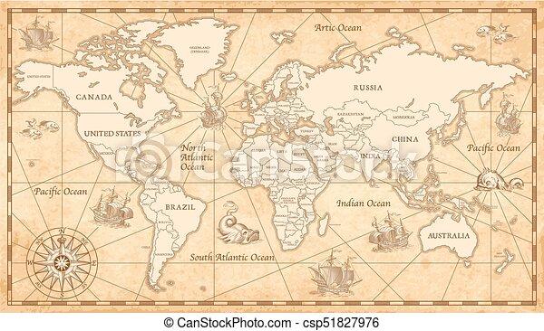 Old vintage world map great detail illustration of the world map in old vintage world map csp51827976 gumiabroncs Images
