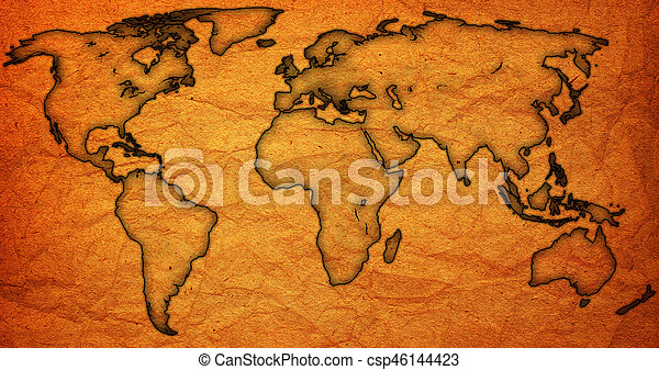 Old vintage world map world map with continents and old vintage old vintage world map csp46144423 gumiabroncs Choice Image
