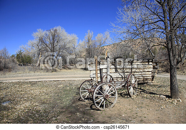 Old wagon on a ranch - csp26145671