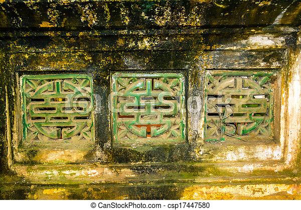 Old wall in temple near Hanoi, Viet - csp17447580