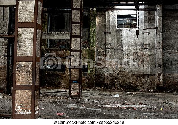 Old Warehouse In Disrepair, Abandoned Building Interior   Csp55246249
