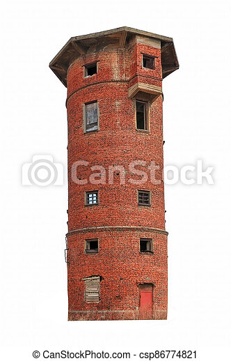 Old water tower made of red brick isolate on a white background. - csp86774821