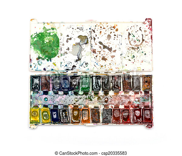 old watercolor paints of the artist on a white background - csp20335583