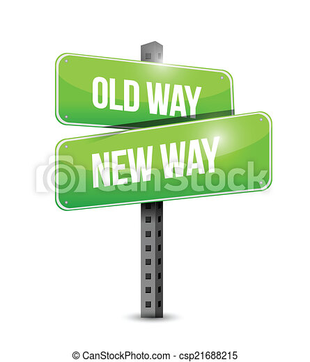 old way, new way sign illustration design - csp21688215