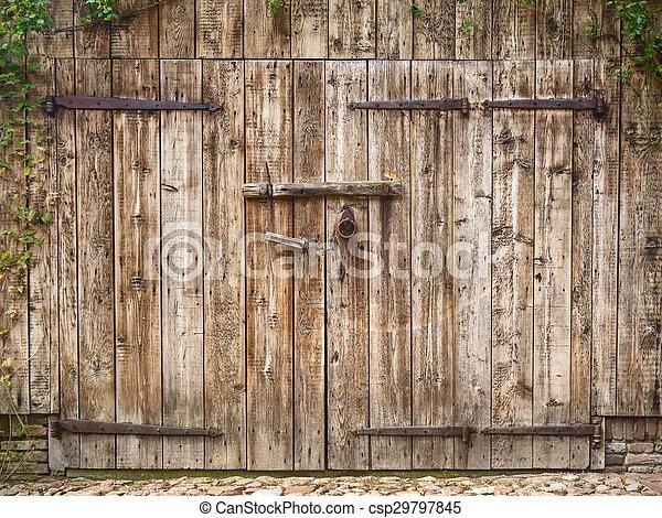 Old weathered barn door - csp29797845