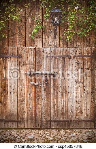 Old weathered barn door - csp45857846